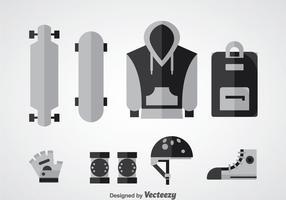 Longboard equipo de vectores