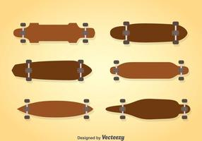 Trä longboard vektor uppsättningar