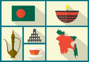 Mappa in stile piatto del Bangladesh