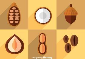 Nuts Flach Icons Vektor
