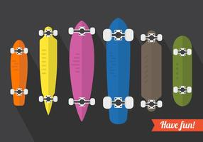 Ensemble vectoriel d'illustrations longboard
