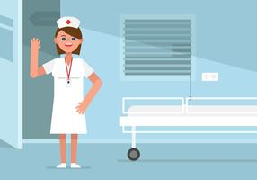Vector Nurse in Patient Room