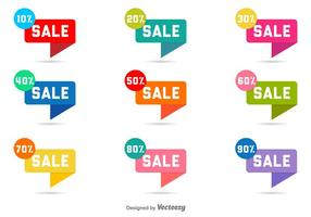 Etiquetas de venda de vetores com descontos