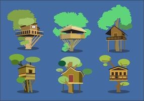 Träd hus vektor