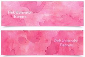 Vecteur libre de bannières d'aquarelle rose