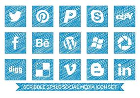 Scribble stijl social media icon set