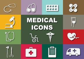 Icone mediche piatte vettoriale