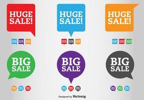 Etiquetas de venda e venda de vetores de desconto
