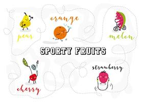 Free Sporty Fruits Character Vector Illustration