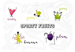 Libre Deportivo Frutas Carácter Ilustración Vectorial