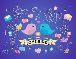 Free Love Birds Vektor Hintergrund
