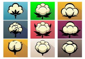 Cotton Plant Vector Icon Set