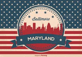Retro Baltimore Maryland Skyline Illustration
