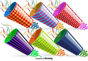 Vector Party Poppers Set