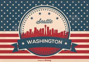 Illusrtation retro del horizonte de Seattle Washington