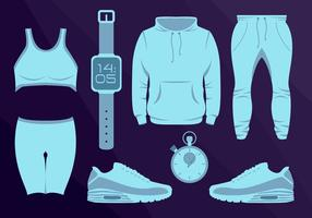Sport Wear Equipament läuft Vektor-Illustration