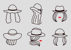 Vector Outline donne con cappelli
