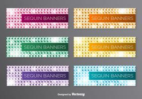 Vector Banners Med Färgglada Sequins Background