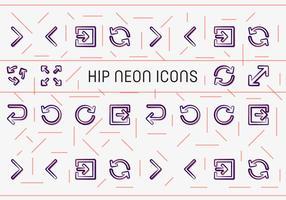 Libre cadera neón iconos vectoriales