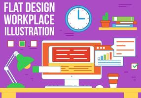 Free Work Place Vector Illustration