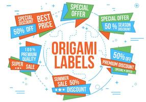 Etiquetas gratuitas de Origami do vetor