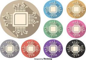 Mikrochip vektor symbol uppsättning