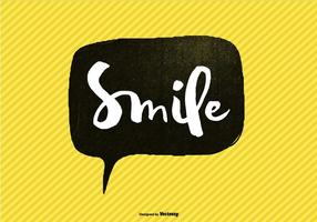 Mano, letras, sonrisa, discurso, burbuja, vector