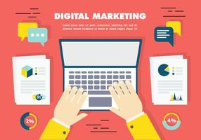 Gratis Flat Digital Marketing Ikon Samling Vector Bakgrund