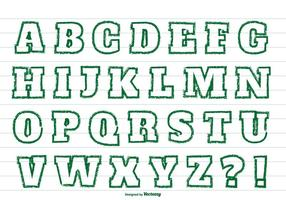 Green Crayon Style Alphabet Set vector
