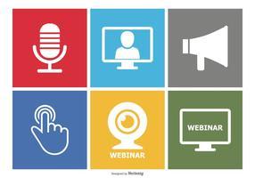 Webinar platt ikonuppsättning