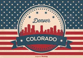 Retro Stil Denver Skyline Illustration