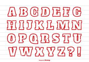 Red Crayon Style Alphabet Set