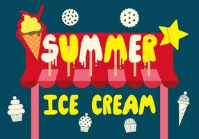Free Summer Ice Cream Vector Background with Typography