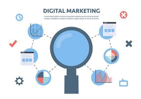 Gratis Flat Digital Marketing Vector Achtergrond