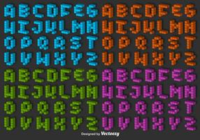 Ensemble vectoriel 3D Pixel Alphabet