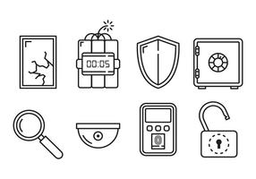 Vetores de ícones lineares de segurança