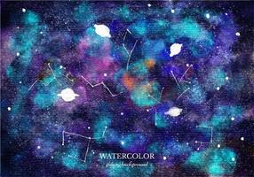 Vector Watercolor Galaxy Background