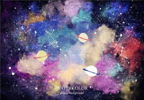 Vector Watercolor Planet Galaxy Background
