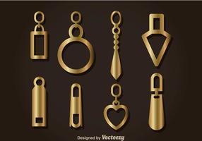 Gold Zipper Pull Headers Vector