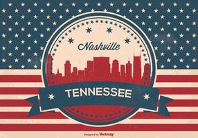 Retro Nashville Skyline Illustration