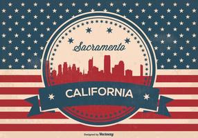 Retro-Stil Sacramento Skyline Illustration