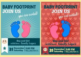 Baby Footprint Poster Flat Vectors