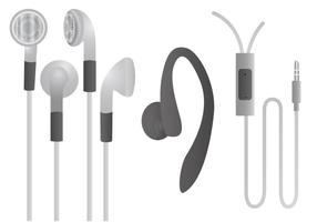 White Earphone Vector Set