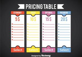 Blank Pricing Table Template Vector