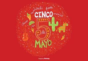 Handdragen Cinco De Mayo Vector