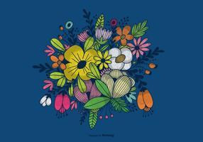 Mano dibujado flor ramo vectorial