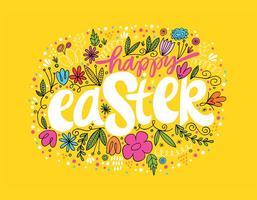 Vettore di Pasqua felice disegnato a mano