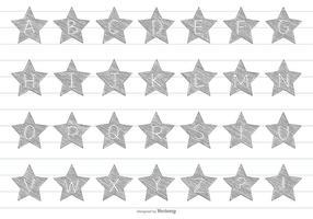 Alfabeto dibujado a mano de la estrella