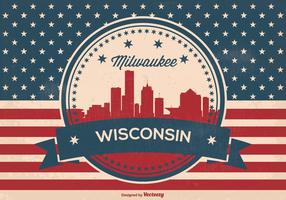 Retro Milwaukee Wisconsin Skyline Illustration