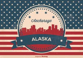Retro förankring alaska skyline illustration